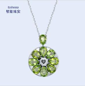 智能珠宝高端女士天然橄榄石吊坠项链
